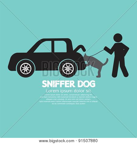 Sniffer Dog Smell At Car's Trunk.