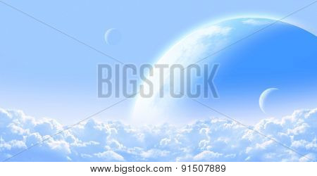 Fantastic sky with cloud and planets