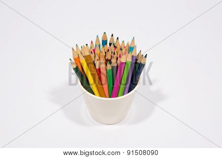 Colorful Pencils In Pail Isolated On White Background