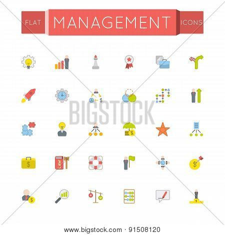 Vector Flat Management Icons