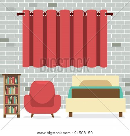 Flat Design Single Bed With Sofa And Bookcase.
