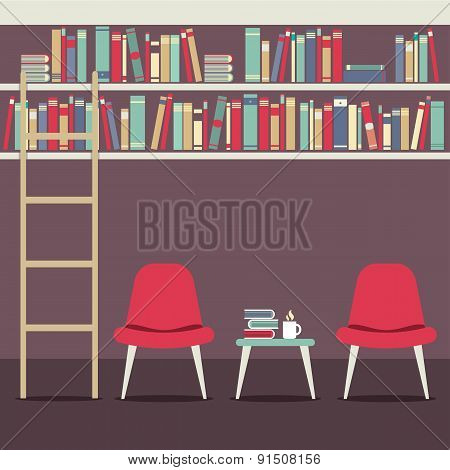 Empty Chairs Under Bookshelves.