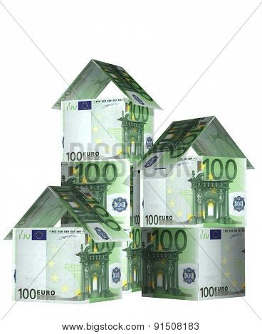 Three houses from euro banknotes. Isolated on white background