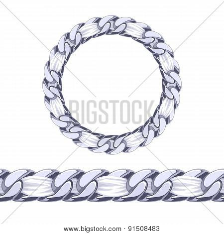 Silver chain with white fabric ribbon vector brush.