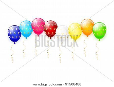 Multicolored Balloons With Stars