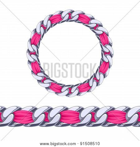 Silver chain with pink fabric ribbon vector brush.