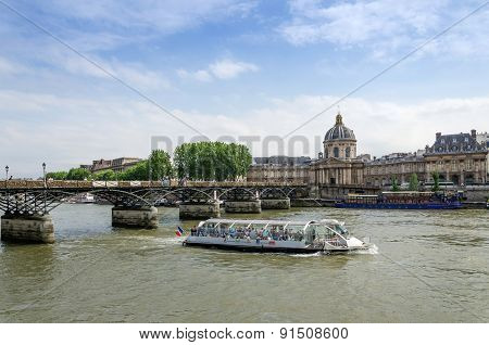 Paris, France - May 13, 2015: Institut De France And The Pont Des Arts Bridge Across River Seine.