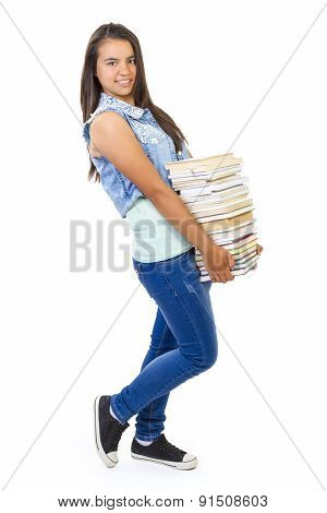 Teenager girl holding book
