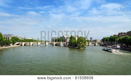 Cite Island And Pont Neuf Bridge Across Seine River In Paris