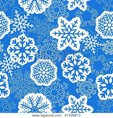 Blue seamless christmas background with snowflakes. Raster version