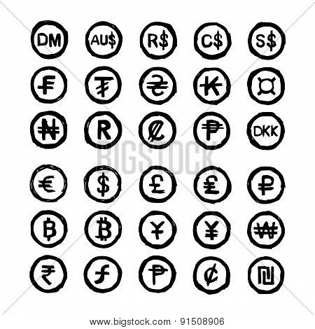 Hand Drawn Doodles International Currency Symbols