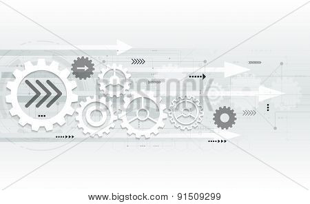 Vector Abstract Futuristic Gear Wheel Engineering On Circuit Board