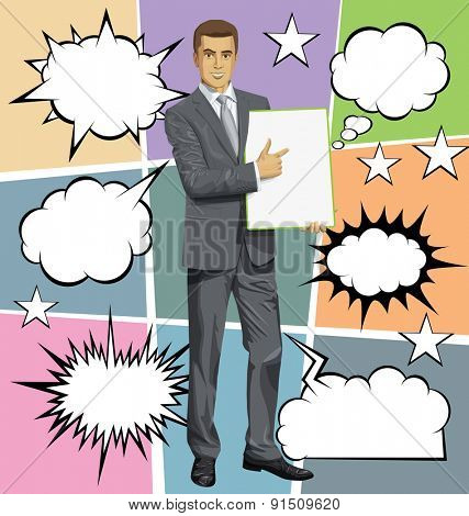 Vector businessman holding empty write board in his hands, with speech and thought bubbles