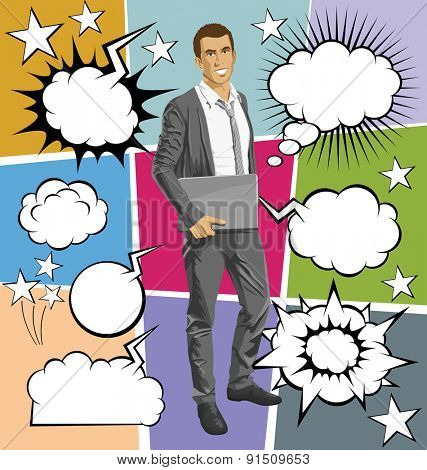 Vector business man with laptop in his hands, with speech and thought bubbles