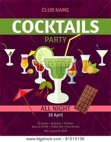 Tropical cocktails night party invitation poster