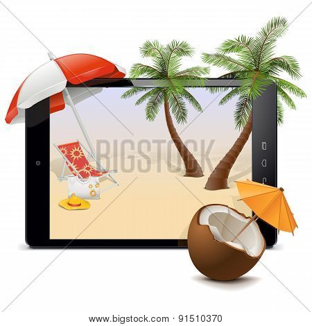 Vector Tablet Pc With Tropical Resort