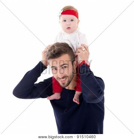 Happy Young Father With Little Daughter Sitting On His Shoulders Isolated On White
