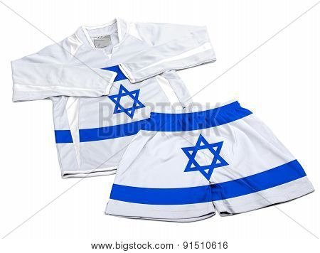 Flag From Israel On Nylon Soccer Sportswear Clothes