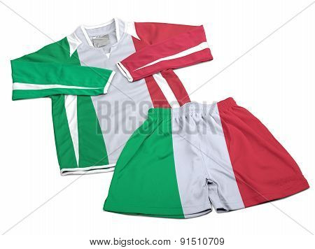 Flag From Italy On Nylon Soccer Sportswear Clothes