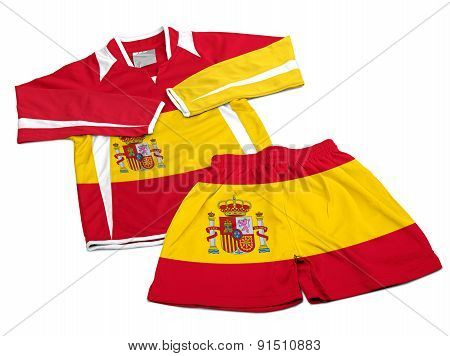 Flag From Spain On Nylon Soccer Sportswear Clothes