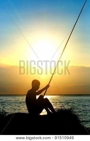 Fisher Silhouette At Sunset