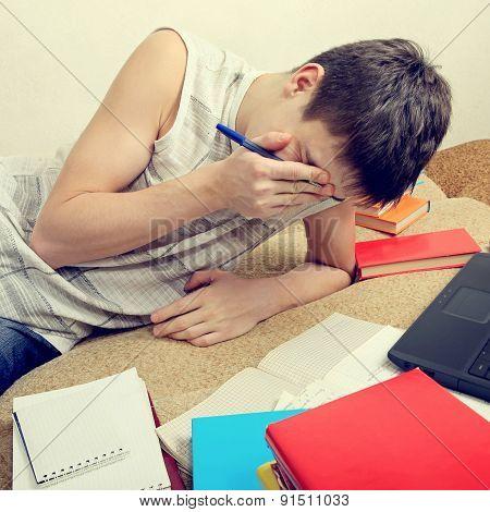 Tired Teenager Doing Homework
