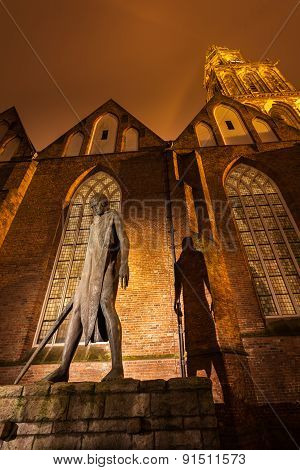 Statue In Front Of A Church In Groningen, Netherlands