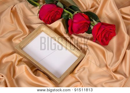 Roses and frame on cloth