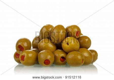 Green olives on white