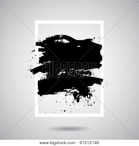 Vector black grunge splash in white frame. Modern design for card, web design background, book cover