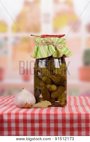 Pickled cucumbers in bank