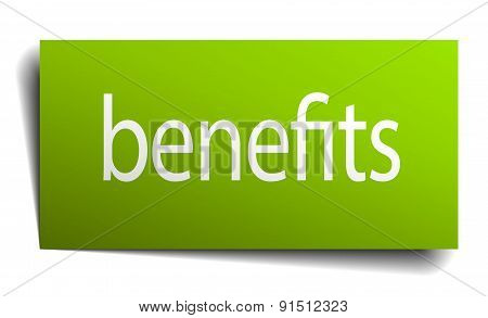 Benefits Green Paper Sign On White Background