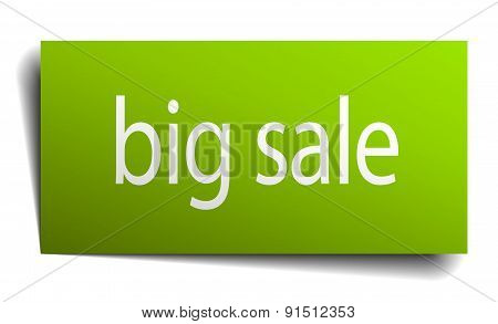 Big Sale Green Paper Sign On White Background