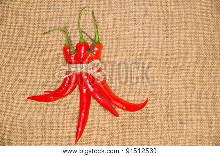 Chile Peppers Tied With A Rope  On Old Cloth