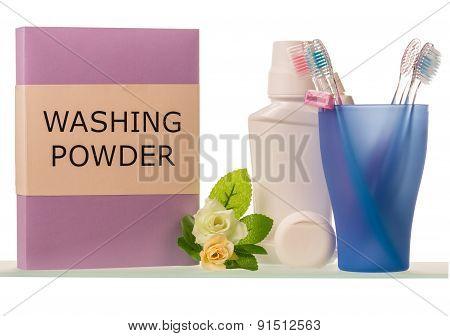 Washing powder and teeth-brushes