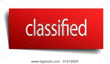 Classified Red Paper Sign Isolated On White