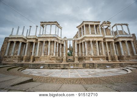 The Roman Theatre proscenium in Merida, Spain. Front View