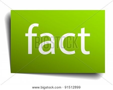 Fact Green Paper Sign Isolated On White