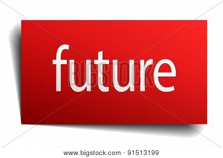 Future Red Paper Sign On White Background