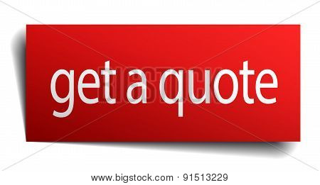 Get A Quote Red Paper Sign On White Background