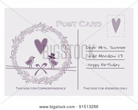 Cute Vintage Birthday Or Baby Shower Card, Invitation With Lavender