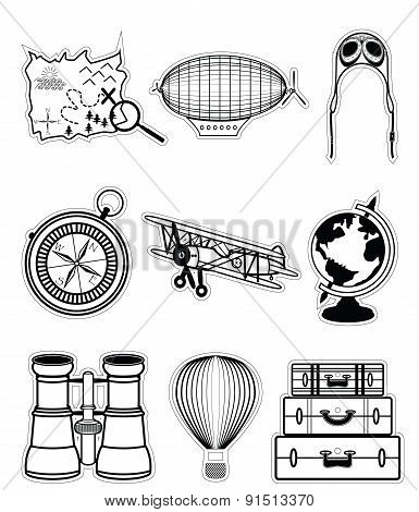 Vintage Travel Components In Stickers Style