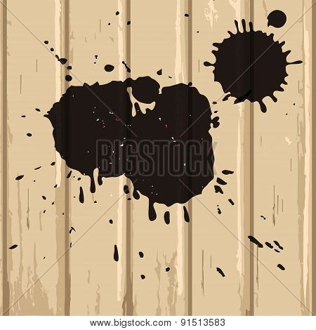 Black Stains On Beige Wood Background