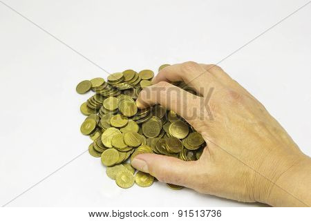 Coins And Woman Hand