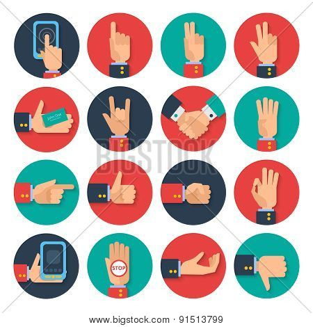 Hands icons set flat