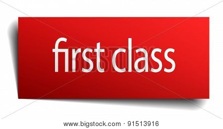 First Class Red Paper Sign On White Background