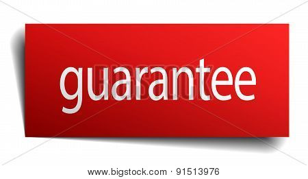 Guarantee Red Square Isolated Paper Sign On White