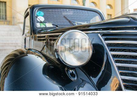Headlight Of Black Vintage Car