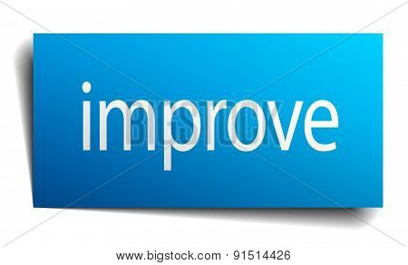 Improve Blue Paper Sign On White Background