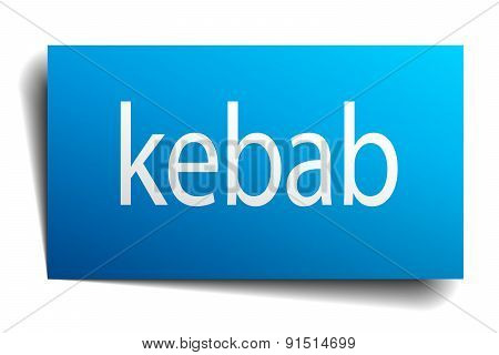 Kebab Blue Paper Sign On White Background